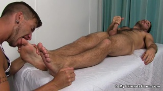 justin case worships jackson grant's feet