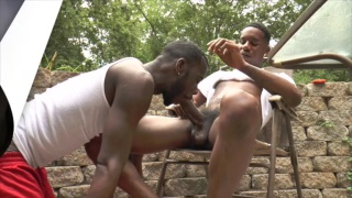 Brayden and Knockout sucking dick outdoors