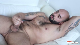 bald bearded hunk Johnny Venture jerks off
