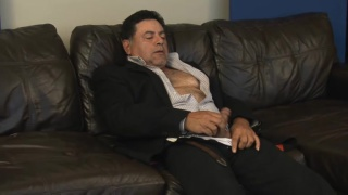 sexy latino daddy jerks his dick