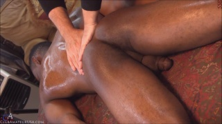 black stud kristoff gets stroked on massage table