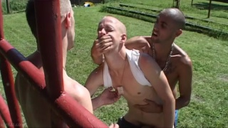 skinheads fuck a guy outside