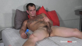 furry guy strokes his huge cock