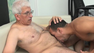 Old gay psychotherapist with pierced cock fucks young patient