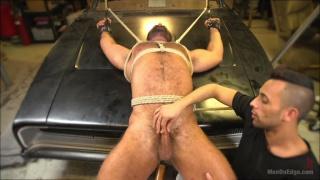 Beefy mechanic taken down & edged