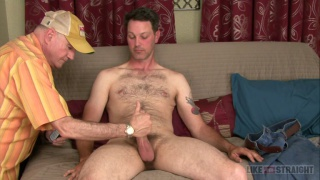 hairy dude lets old man suck him off
