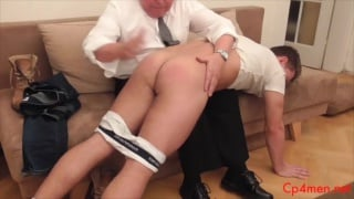 beefy blond gets his bare bum spanked