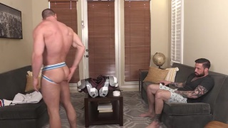 Jordan Levine bare fucks Beau Warner in football gear