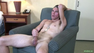 slim dude strokes his long dick