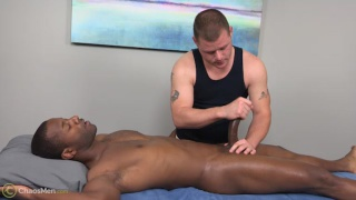 stroking a BBC on the massage table