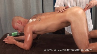 bald stud gets his ass dildo fucked
