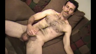 hairy redneck plays with his super fat cock