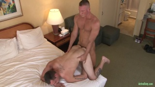 stud slides his dick into inexperienced ass