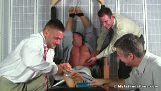 three men tickle restrained braden charron