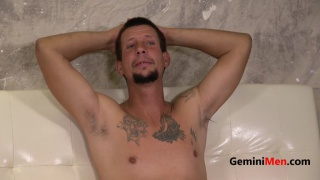 lanky 43-year-old guy jerks his cock
