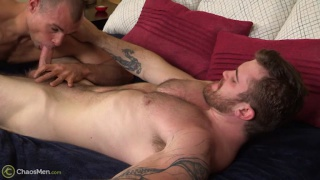 ginger hunk fucks a bald guy's ass