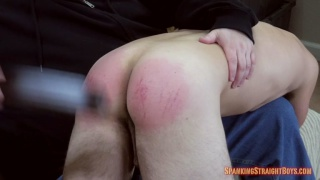 19-year-old straight boy gets a painful spanking