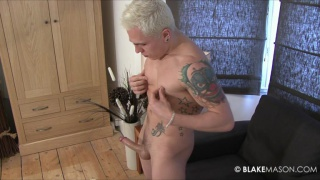Blond British guy gets naked