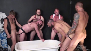 Pounded in the Piss Tub with Tony Bishop and Dolf Dietrich