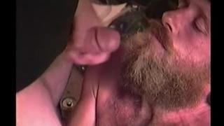 bearded redneck gobbles cum