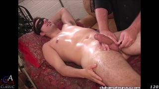 straight masked guy gets massage and handjob