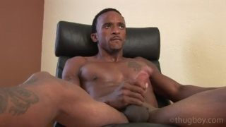 black stud with athletic physique jerks his big cock