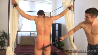 Martin Polnak gagged and shackled to bed frame for spanking
