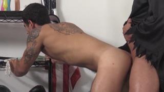rad Banks bare fucks Vadim Black through a doggy door