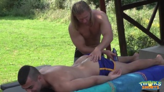 Sexy blindfolded hunk serviced by older man 3