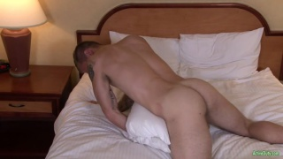 chiseled inked stud fucks his pillow