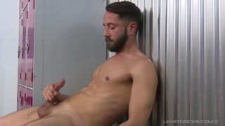 Hot Bearded sam wallis jerks off in locker room