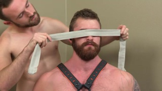 bearded hunk caspar blindfolded and blown