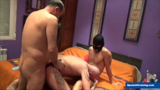 masked man and another top fuck a guy