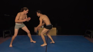 guys wrestle naked then stroke each other's cocks