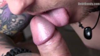 tattooed tough guy sucks dick for cash