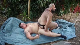 bearded bear riding hunter scott's dick outside