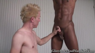 Black guy jerks his cock