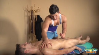 masseur Shane Hirch services his client Rudy Valentino