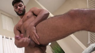 bearded hottie jerks his cock