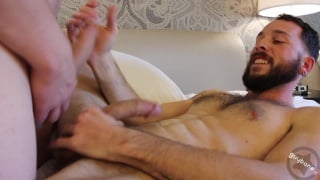guy makes his hung stud moan with his slurping skills