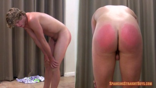 blond straight boy gets his ass spanked bright red