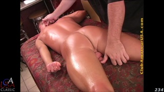 sweaty hunk gets his ass poked on massage table