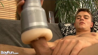 Peter Hood strokes off with his fleshlight