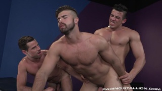 Jacob Taylor and Derek Deluca bend over for Jonah Fontana