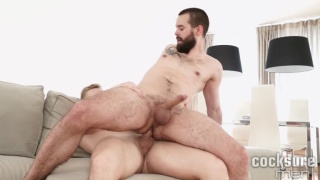 bearded hunk rides blond jock's bare cock