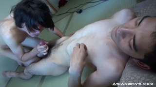 three scenes of asian boys cumming
