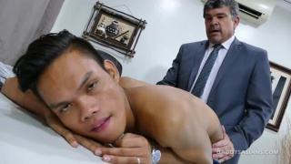 suited daddy and his asian boy fuck each other