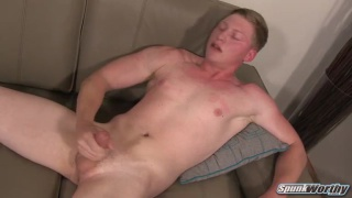 blond guy austin jerks his big cock