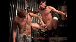 bottom forced to sit on a dildo