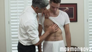 grey-haired daddy fucks mormon guy on desk